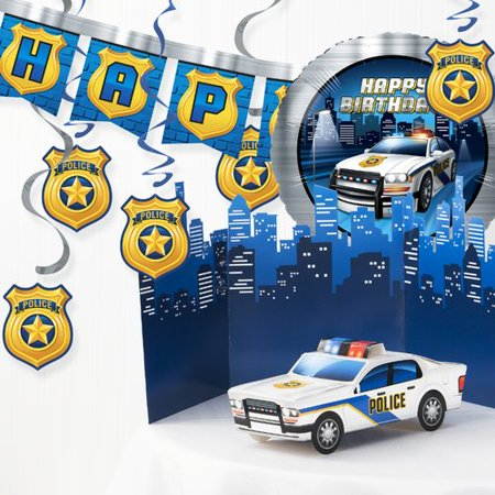 The Party Aisle 6 Piece Police Birthday Party Decoration Set (Police Party Decorations)