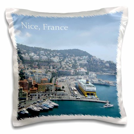 3dRose Harbor in Nice South France - French Riviera - Mediterranean coastal town city. Boats. world travel - Pillow Case, 16 by (Best Coastal Towns In America)
