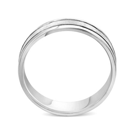 Men's Brushed 6mm Flat Wedding Band Ring Solid 10K White Gold - image 1 of 2