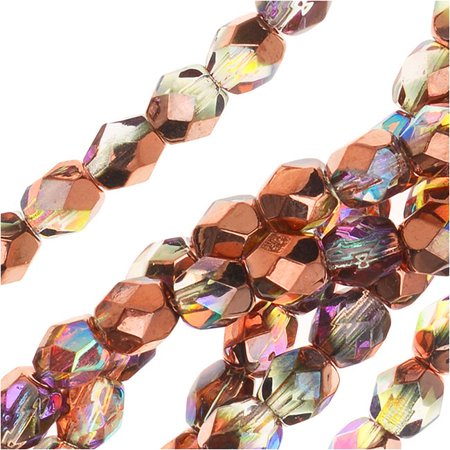 Czech Fire Polished Glass, Faceted Round Beads 4mm, 40 Pieces, Crystal Copper Rainbow - Glass Bird Beads