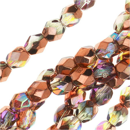 Czech Fire Polished Glass, Faceted Round Beads 4mm, 40 Pieces, Crystal Copper Rainbow