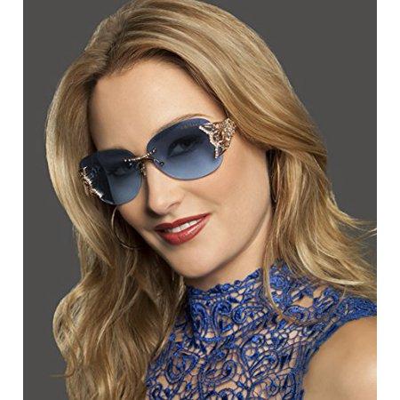 a9cc85a56b44 Caviar - Caviar Rimless Swarovski Crystals 6854 C55 Womens Gold Frame Blue  Lens Sunglasses - Walmart.com
