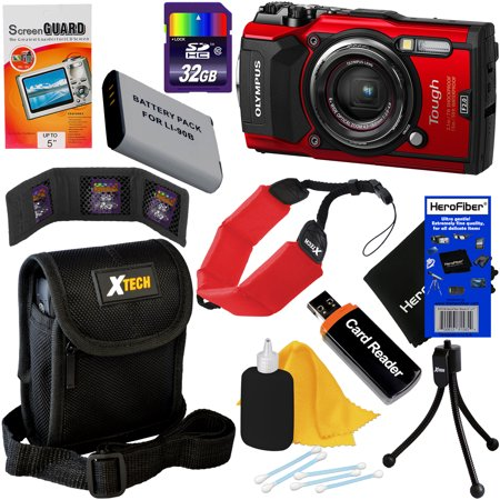 Digital Cameras Gps - Olympus Tough TG-5 Waterproof, Shockproof, Freezeproof & Crushproof Wi-Fi Digital Camera with GPS & HD 4K Video (Red) + Battery + 9pc 32GB Accessory Kit w/HeroFiber Cloth