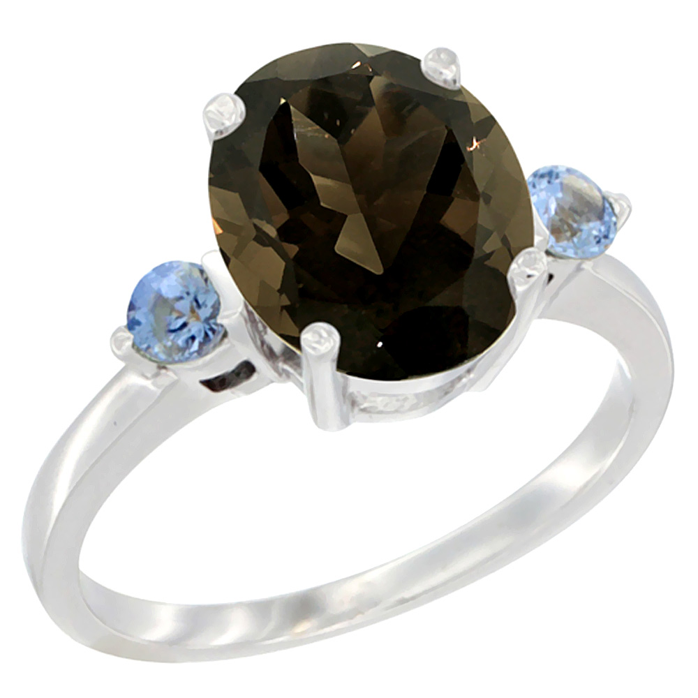 10K White Gold Natural Smoky Topaz Ring Oval 10x8mm Light Blue Sapphire Accent, sizes 5 10 by WorldJewels