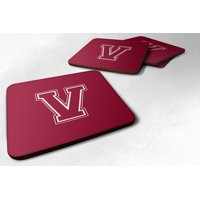 Set of 4 Monogram - Maroon and White Foam Coasters Initial Letter V