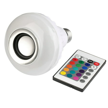 Smart Bulb E27 White + RGB LED Speaker Light Lamp Wireless Bluetooth Music Smart Bulb Lamp with Remote
