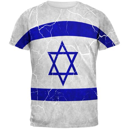 Israel Flag T-shirt - Distressed Israeli Flag All Over Mens T Shirt