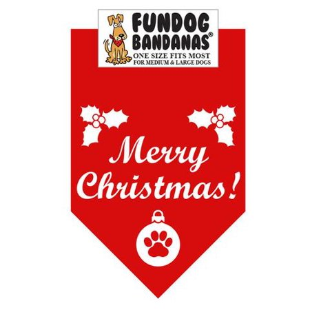 Fun Dog Bandana - Merry Christmas - One Size Fits Most for Med to Lg Dogs, red pet scarf - Christmas Dog