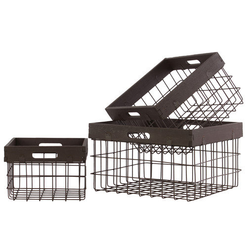Urban Trends 3 Piece Metal Square Storage Basket Set
