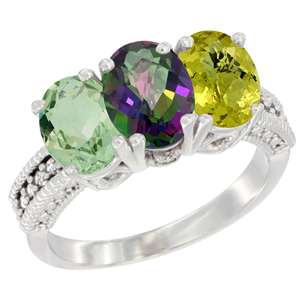10K White Gold Natural Green Amethyst, Mystic Topaz & Lemon Quartz Ring 3-Stone Oval 7x5 mm Diamond Accent, sizes 5 10 by WorldJewels