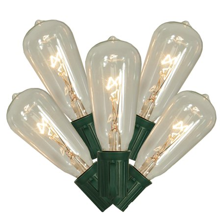 Set of 10 Transparent Clear ST40 Edison Style Christmas Lights - Green (10 Clear Lights Green Wire)