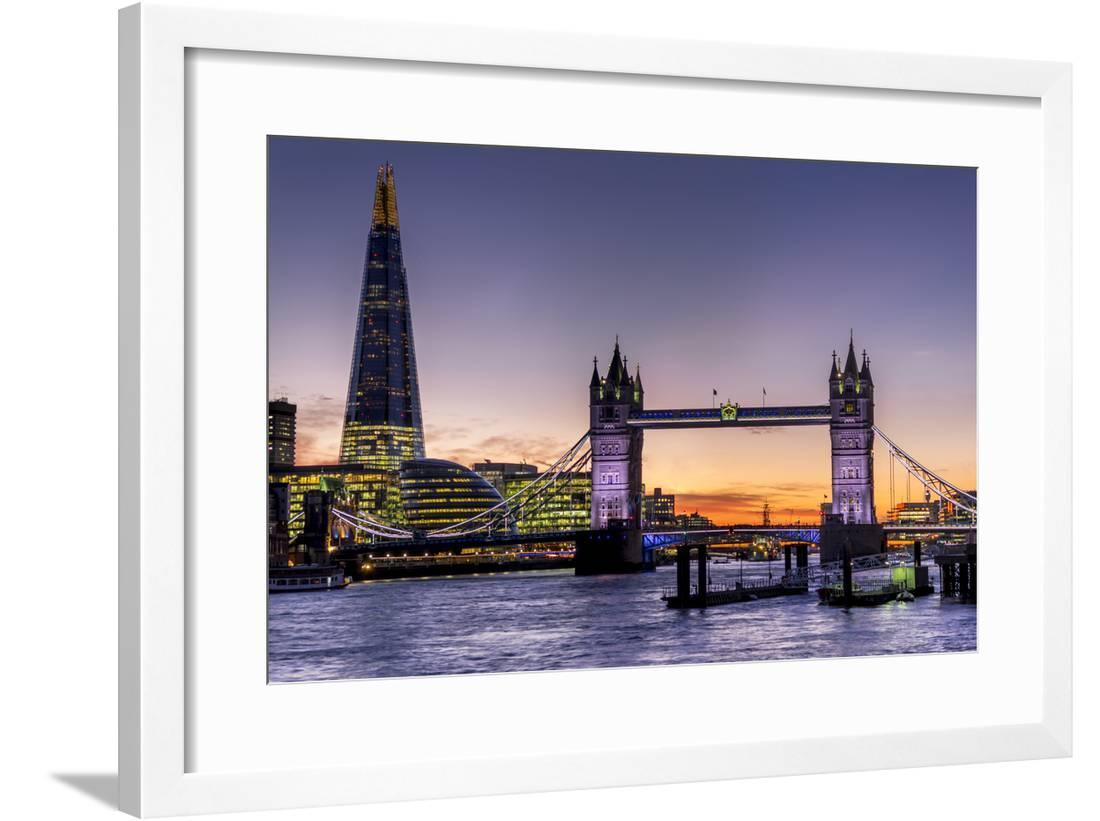 LONDON SUNSET ON THE SHARD CANVAS PRINTS WALL ART PICTURES HOME FRAMED POSTERS