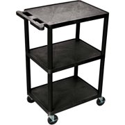 "Luxor 300 lb. 24"" x 18"" 3-Shelf Black Utility Cart"