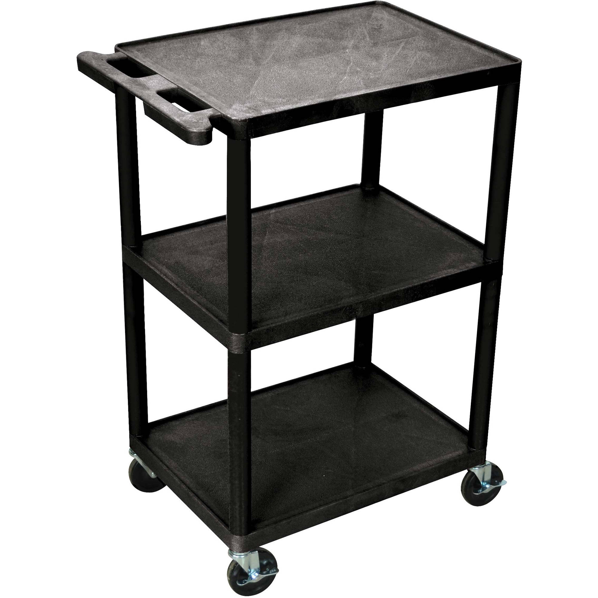 Luxor 3-Shelf Utility Cart, Black