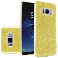 Samsung Galaxy S8 Case - Wydan Slim Hybrid Glitter Sparkle Shock Absorbent Skin TPU Phone Cover Gold