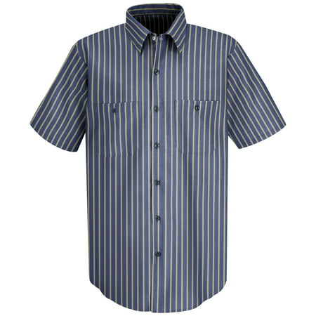Mens Short Sleeve Industrial Stripe Work Shirt
