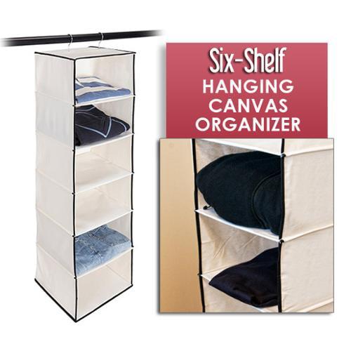 Stylishly Stored Six-Shelf Hanging Canvas Organizer