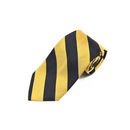 White Black Stripe Silk Necktie (College Striped Colored 100% Silk X-Long Neck)