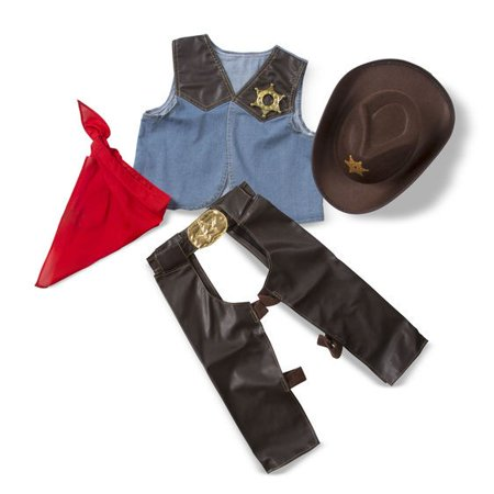 Role Play Costumes For Guys (Melissa & Doug Cowboy Role Play Costume Set (5 pcs) - Includes Faux Leather)