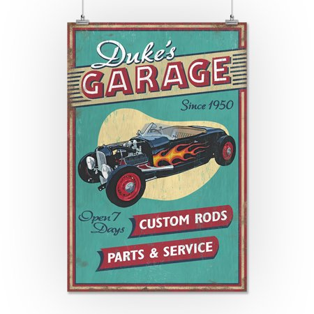 Duke's Garage - Vintage Sign - Lantern Press Artwork (16x24 Giclee Gallery  Print, Wall Decor Travel Poster)