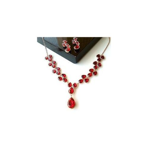 CET Domain SZ16-26-CLIP Red Crystal Champagne Gold Plated Necklace and Earring Jewelry Set-Earring Style Clip