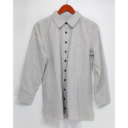 Denim & Co. Petite Size Top SP Long Sleeve Seersucker Button Front White A275872 (Front Seersucker)