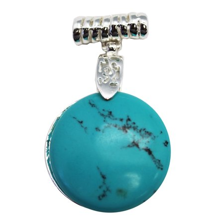 Faux Turquoise Circular Stone Pendant With Elogated Necklace Loop