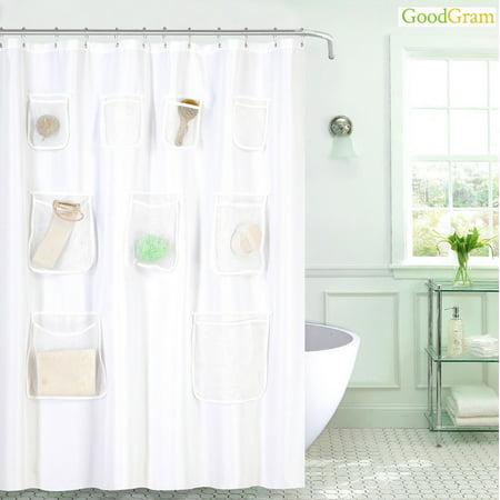 GoodGram Fabric Shower Curtain Liner With Mesh Pockets