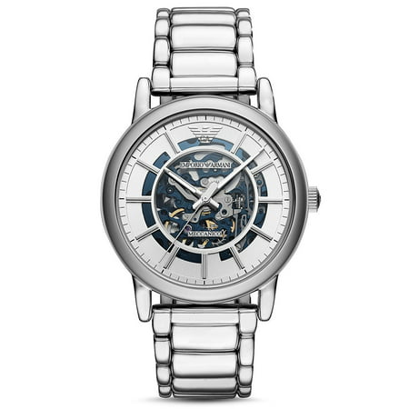 Emporio Armani Men's Automatic Stainless Steel Bracelet AR60006 Blue Dial Skeleton Watch 43mm