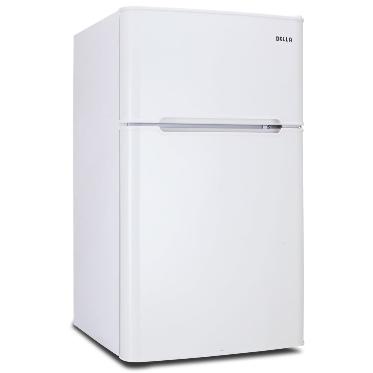 Della Refrigerator with Freezer Double Door Compact Fridge, White