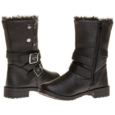 Sara Z Ladies Pu Moto Boot with Snap Closure (Black), Size 10