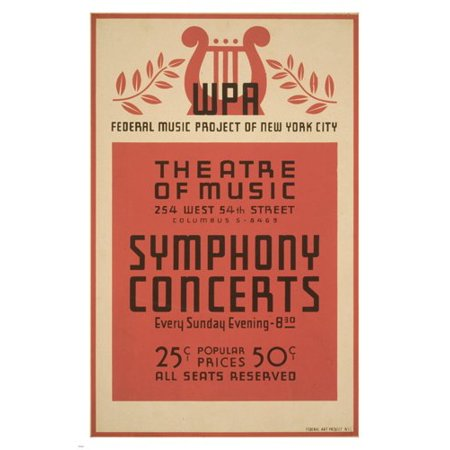 Nyc Symphony Concerts Vintage 1941 Poster 24X36 Federal Music Project Sponsor