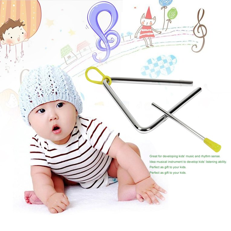 Professional Kids Musical Toy Rhythm Steel Triangle Beater Good Sound Musical instruments with Stick Kids Child for Gift