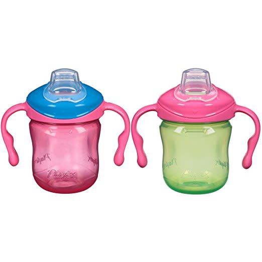 Playtex Sipsters Stage 1 Soft Spout Sippy Cups 6oz 2-Pack Assorted Colors