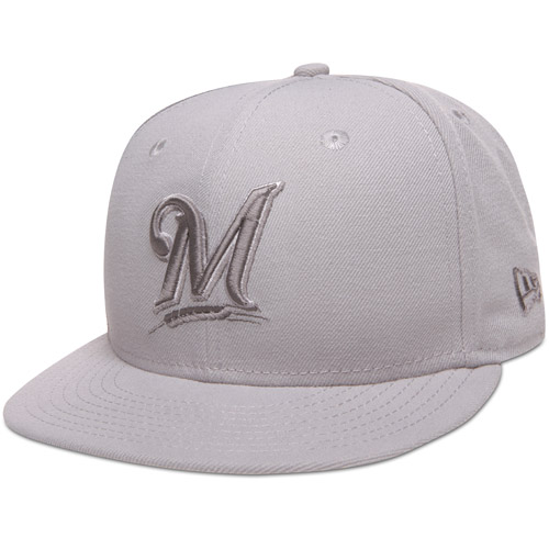 Milwaukee Brewers New Era Tonal Pop Basic Gray 59FIFTY Fitted Hat
