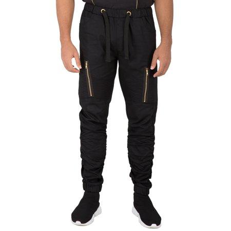 Vibes Mens Moto Knee Twill Jogger Pants Scrunched Leg Vertical Zipper Cargo Pocket