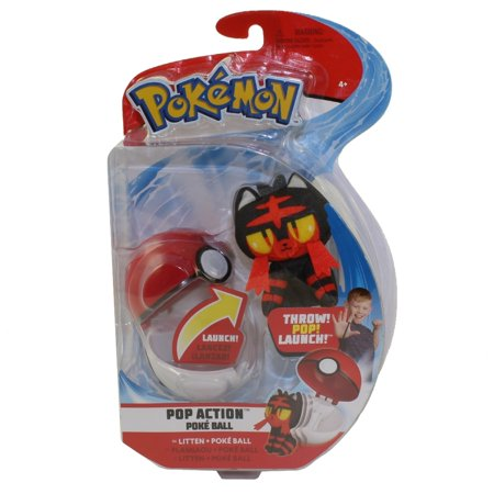 Wicked Cool Toys - Pokemon Pop Action Poke Ball & Plush - LITTEN w/ Poke Ball (3 inch)