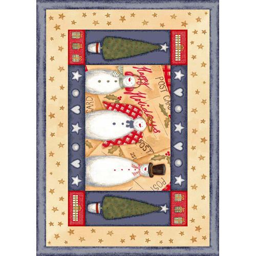 Milliken Winter Seasonal Holiday Frosty and Family Beige Area Rug