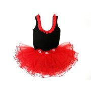 Black Red 3 Flower Tutu Ballet Dress Girls S