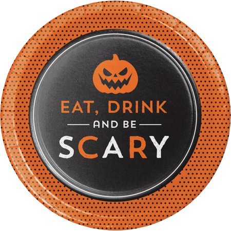 Eat Drink and be Scary Halloween Dessert Plates, 8 pack - Halloween Themed Shots Drinks