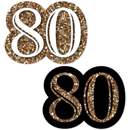 Adult 80th Birthday - Gold - DIY Shaped Birthday Party Cut-Outs - 24 Count