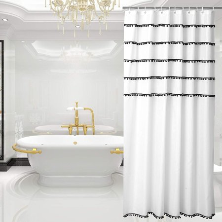 yuunity shower curtain polyester fabric mildew resistant water proof non toxic bath curtain. Black Bedroom Furniture Sets. Home Design Ideas
