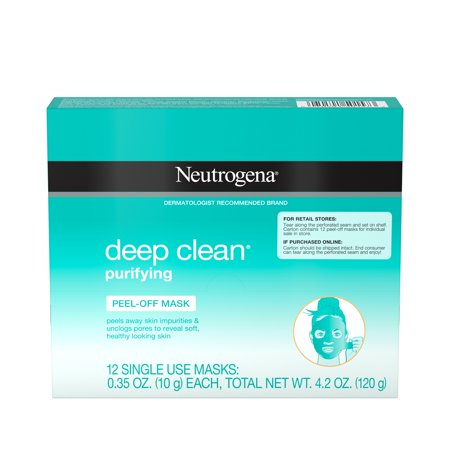 Neutrogena Deep Clean Purifying Peel-Off Face Single-Use Mask, 12 ct