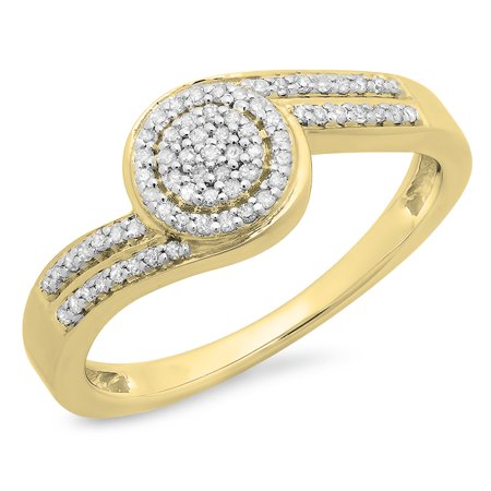 Cluster Twist - Dazzlingrock Collection 0.25 Carat (ctw) 10K Round Diamond Ladies Twisted Cluster Engagement Ring 1/4 CT, Yellow Gold, Size 7.5