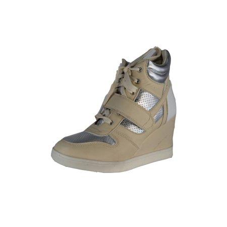 Qupid SELMA-01 Lace Up High Top Velcro Wedge Heel Sneaker Shoe, Beige PU, 8.5 (Heel Wedge Sneakers)