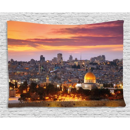 - Landscape Tapestry, Ancient Old City Jerusalem Historical Religious Center Israel Twilight View, Wall Hanging for Bedroom Living Room Dorm Decor, 60W X 40L Inches, Gold Coral Lilac, by Ambesonne