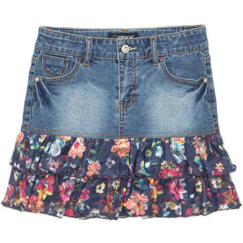 Jordache Girls' Mixed Media Denim Skirt