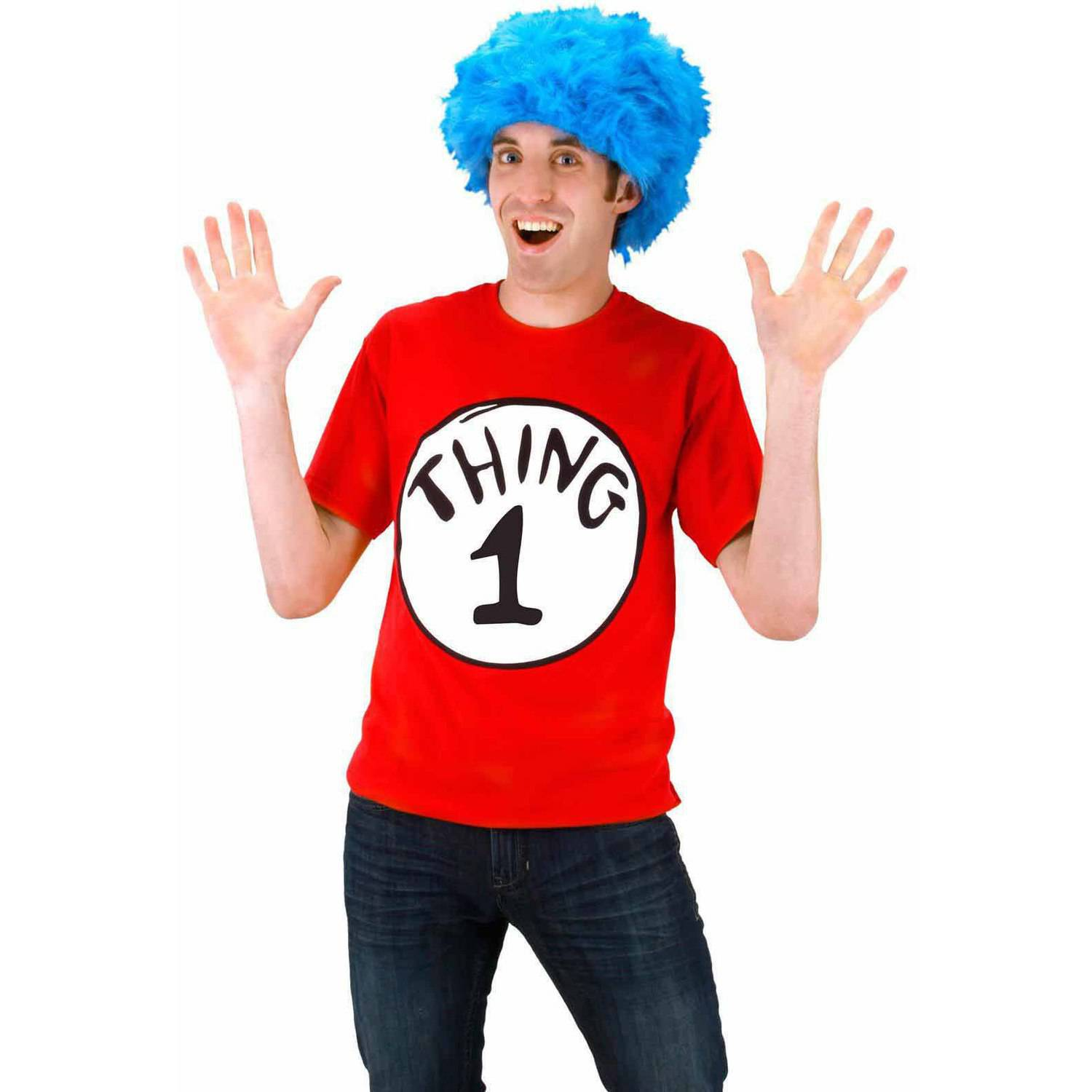 Dr. Seuss Cat In The Hat Thing 1 Tee Shirt Kit Men's Halloween Costume
