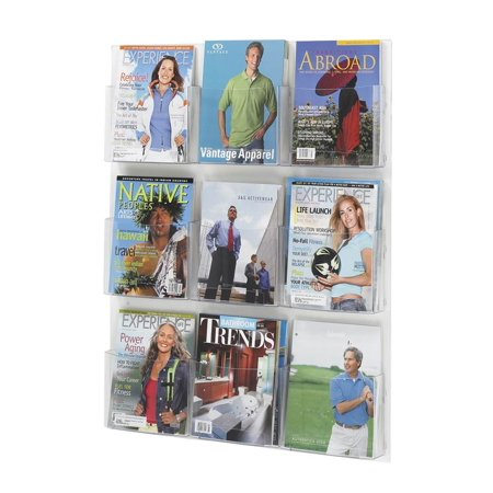 Overlapping Magazine Display - Clear2c 9 Magazine Display Rack in Clear Finish