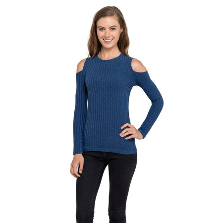 ee58c0a38e6c5 Velucci - Velucci Knitted Cold Shoulder Women Tops